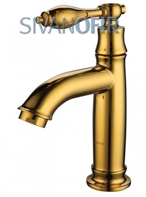 1338 G ברז פרח מים קרים בלבד ענתיק צבע זהב